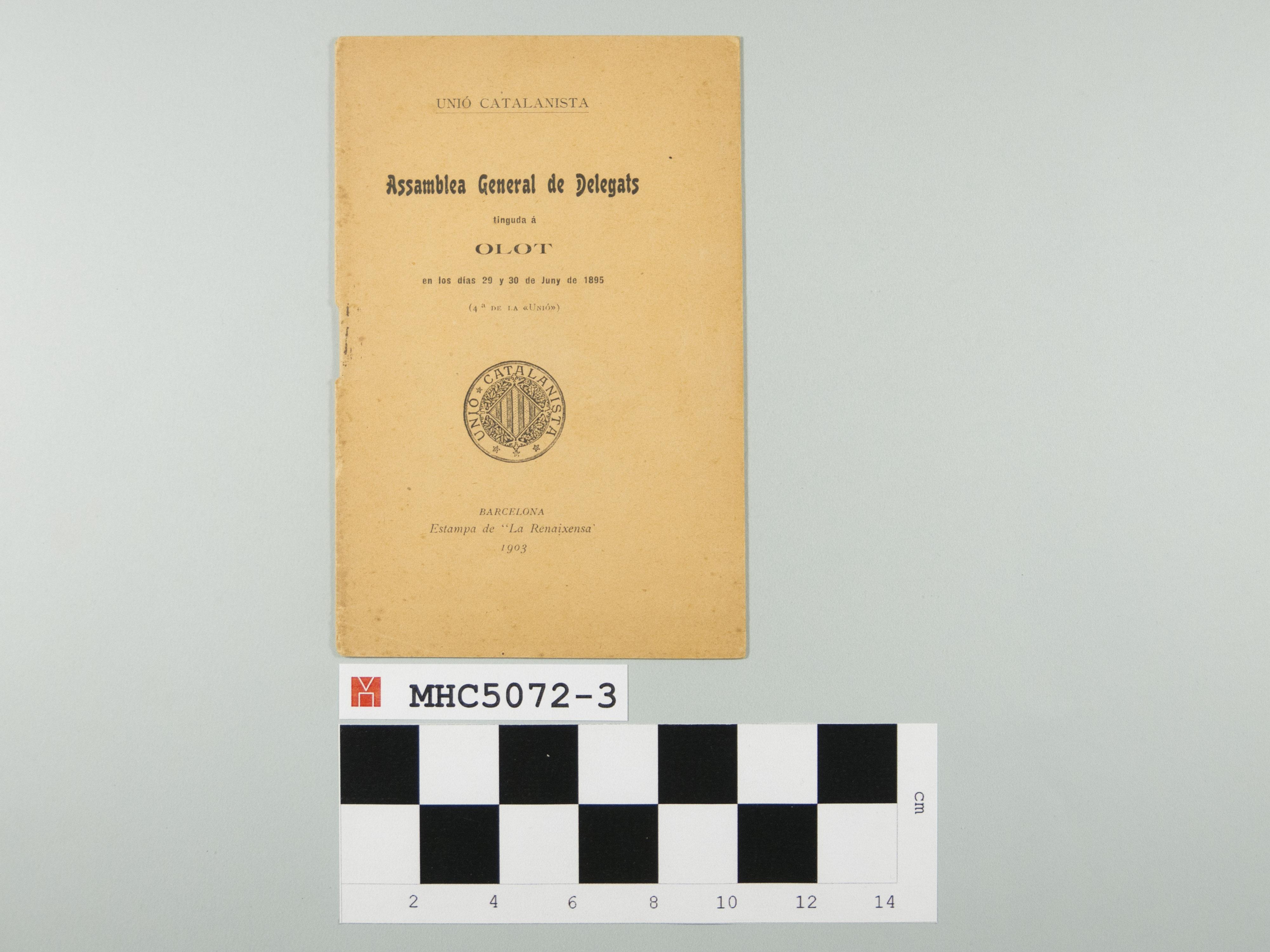 "Assamblea General de Delegats tinguda á Olot en los días 29 y 30 de Juny de 1895 (4ª de la ""Unió"")."