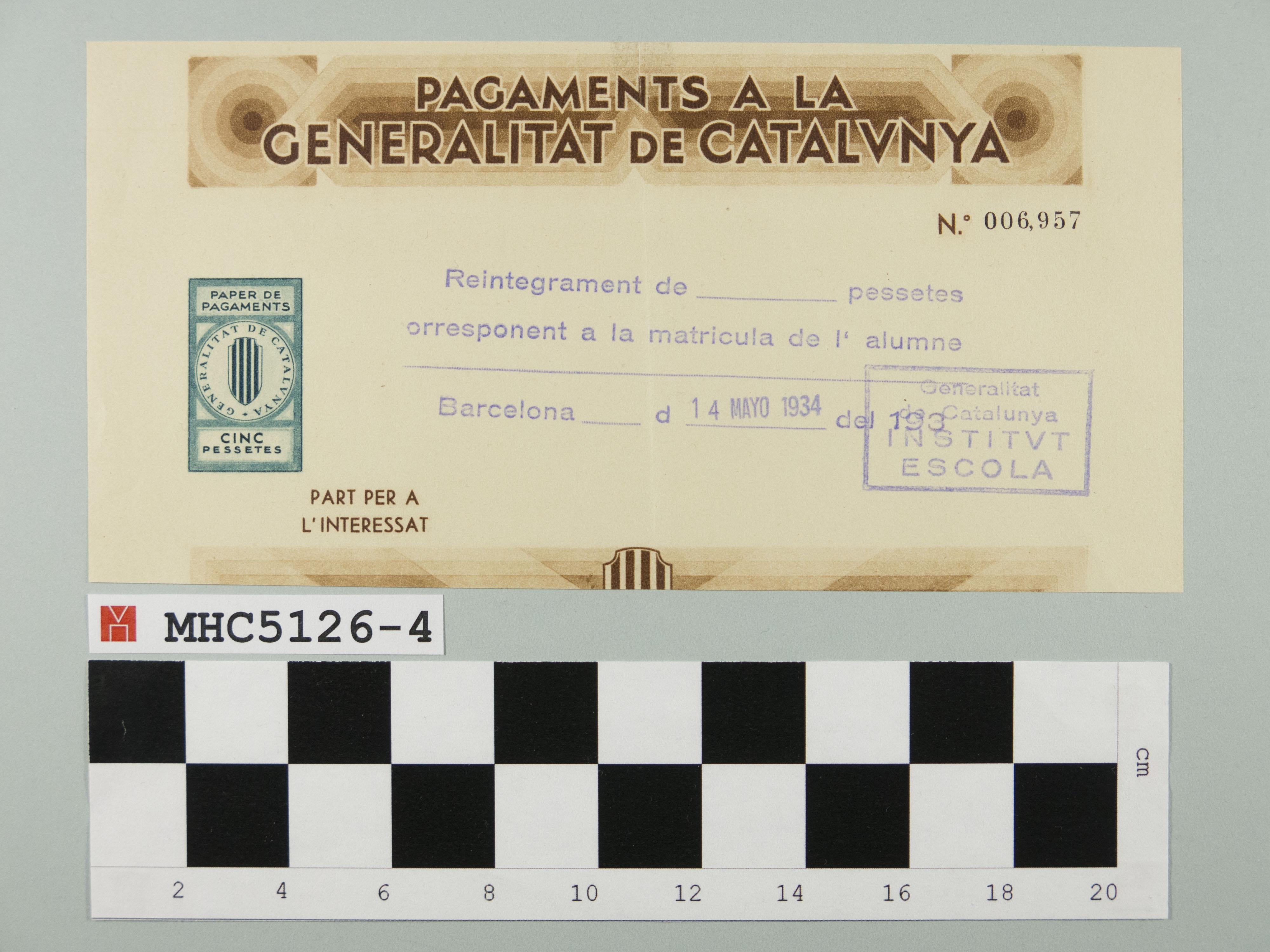 Pagaments a la Generalitat de Catalunya.