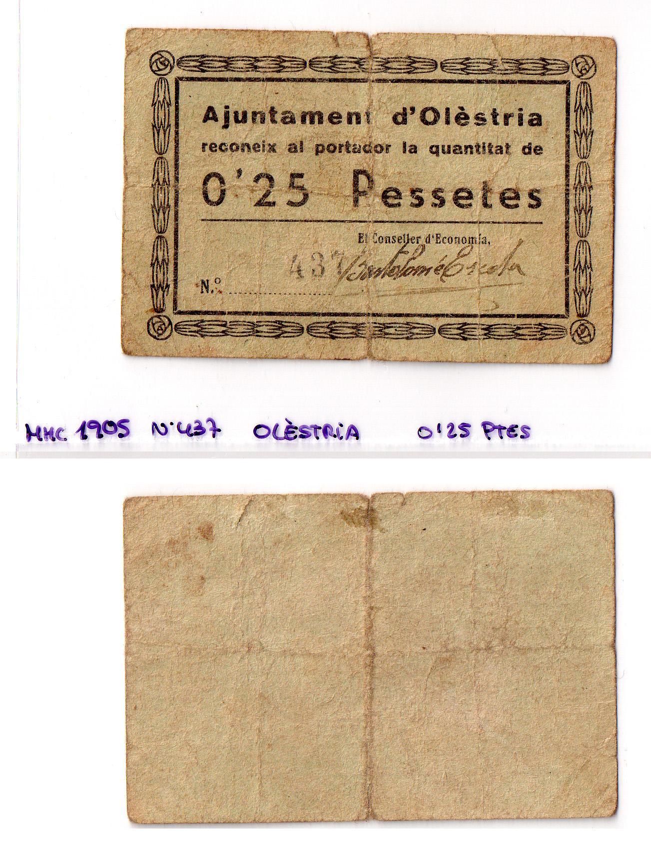 0,25 pessetes