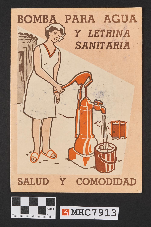Bomba para agua y letrina sanitaria. Salud y comodidad.