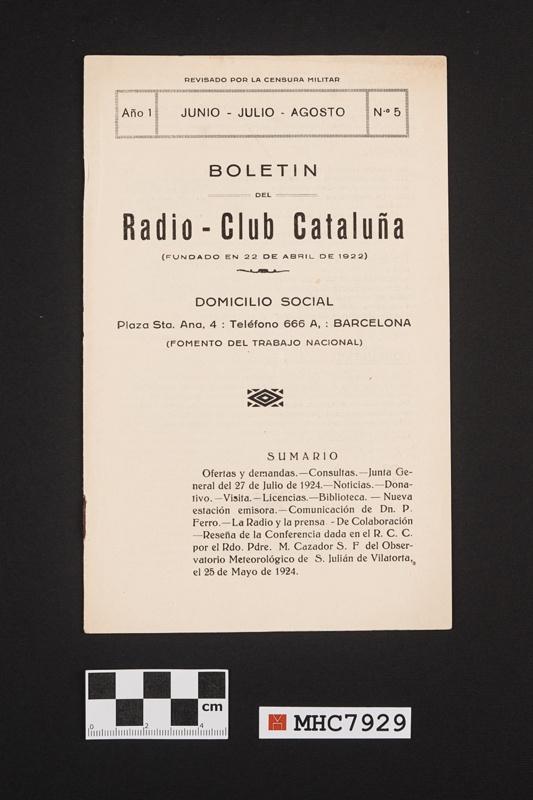 Boletín Radio - Club Cataluña, número 5
